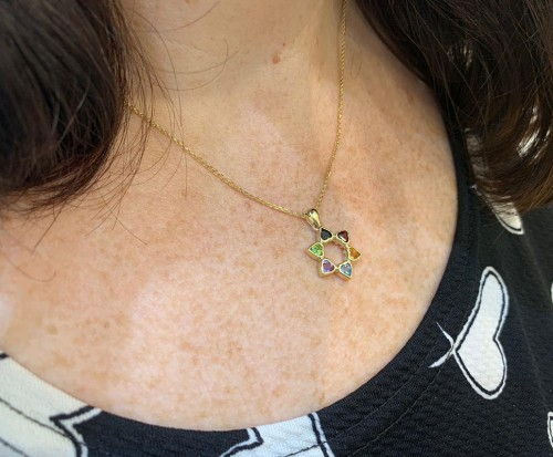14k Gold and Multicolored Star of David Pendant