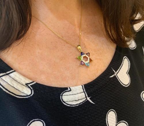 14k Gold and Diamond Multicolored Star of David Pendant