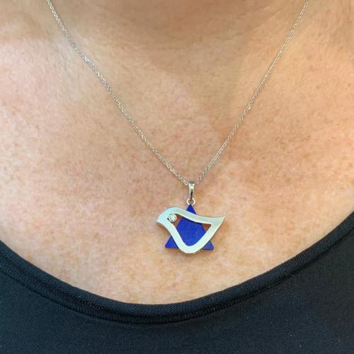 White Gold Dove of Peace Star of David Pendant