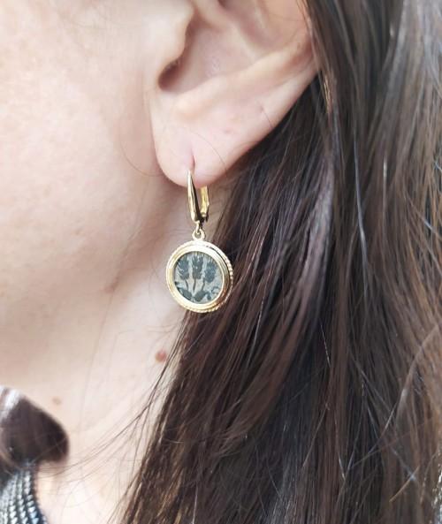 Agrippa coin gold earrings