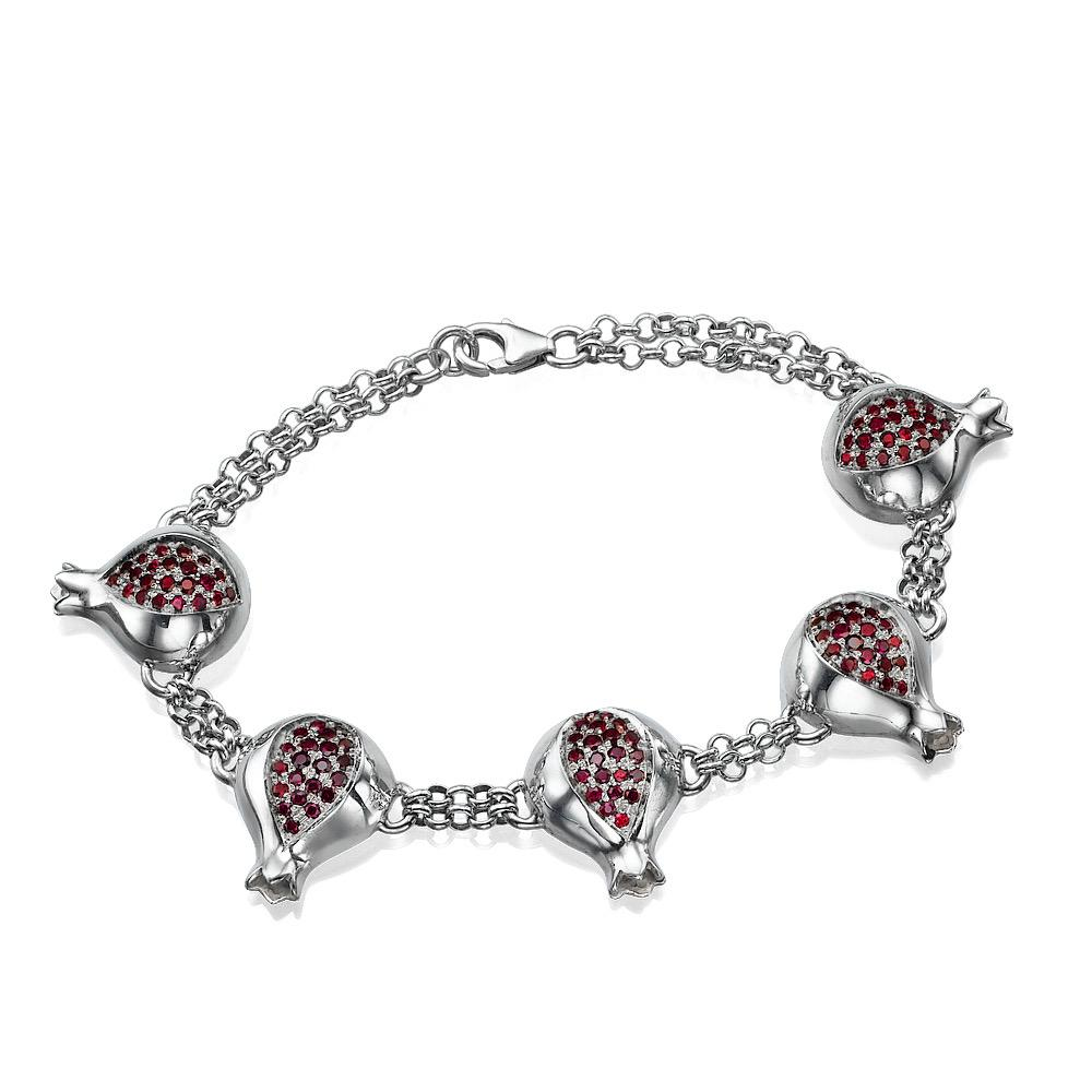 Sterling Silver Garnet Pomegranates Chain Link Bracelet - Baltinester Jewelry