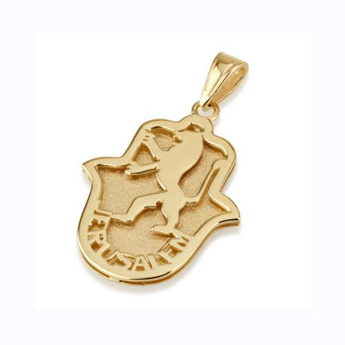 Lion of Judah Hamsa Pendant - Baltinester Jewelry