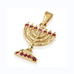 14k Gold Ruby Menorah Pendant - Baltinester Jewelry