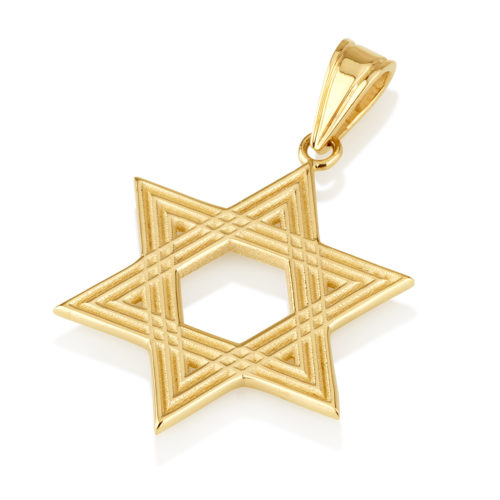 14k Gold Star of David Kaleidoscope Pendant - Baltinester Jewelry