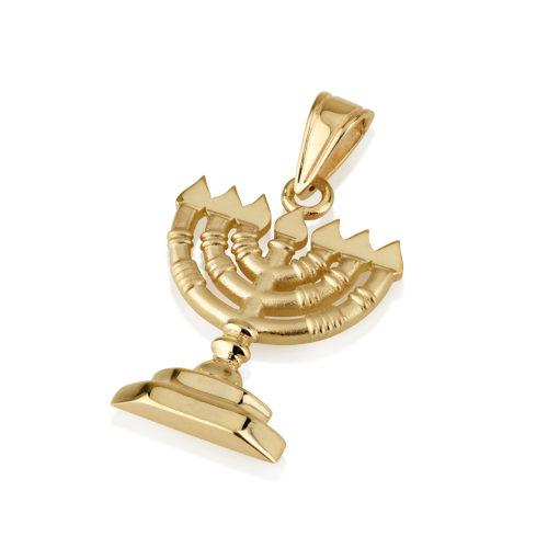 14k Yellow Gold Menorah Pendant - Baltinester Jewelry