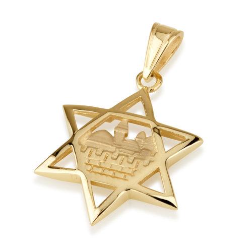14k Gold Jerusalem Magen David Pendant - Baltinester Jewelry