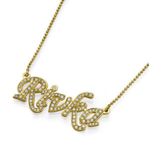 14k Yellow Gold Diamond Name Necklace - Baltinester Jewelry