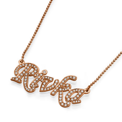 14k Rose Gold Diamond Name Necklace - Baltinester Jewelry