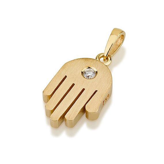 Modern 18k Gold Diamond Hamsa Pendant - Baltinester Jewelry