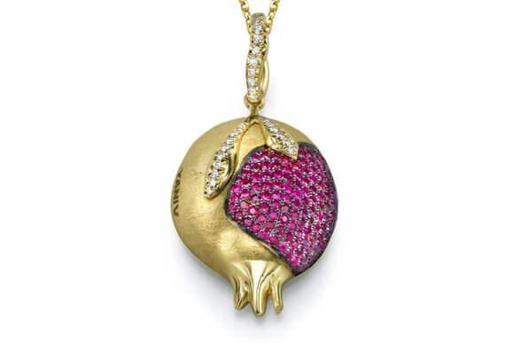 18k Gold Diamond Ruby Pomegranate Necklace - Baltinester Jewelry