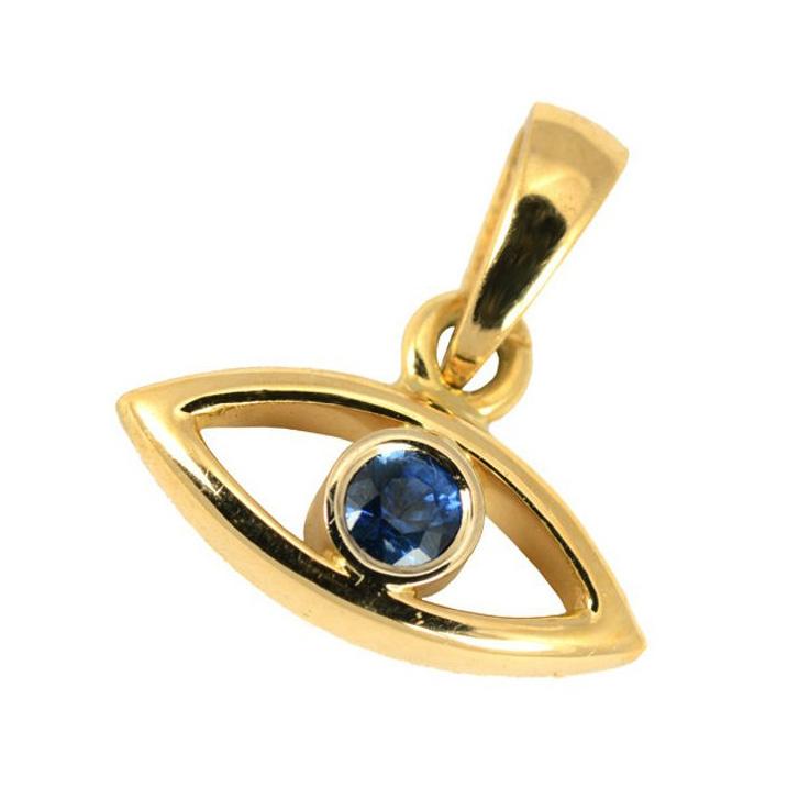 18k Gold Sapphire Evil Eye Pendant 5 - Baltinester Jewelry