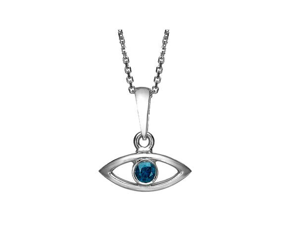 18k Gold Sapphire Evil Eye Pendant 2 - Baltinester Jewelry