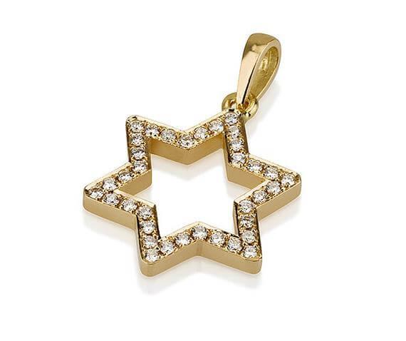18k Gold Diamond Magen David Pendant - Yellow Gold - Baltinester Jewelry