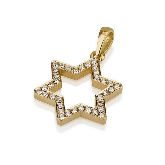 18k Gold Diamond Magen David Pendant 2 - Baltinester Jewelry