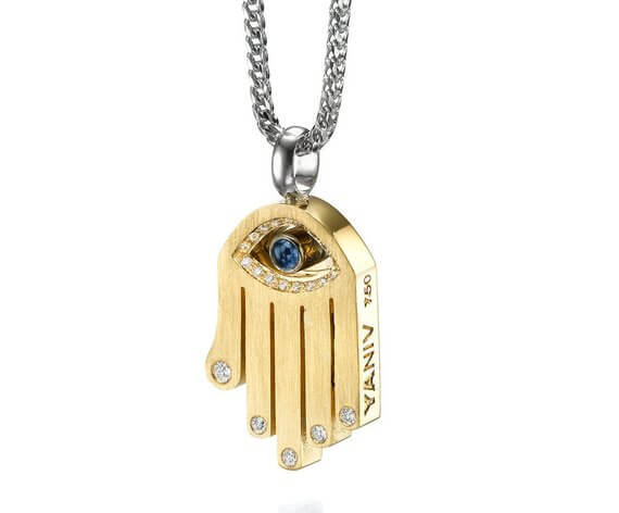 18k Gold Sapphire Diamond Hamsa Pendant - Yellow Gold - Baltinester Jewelry