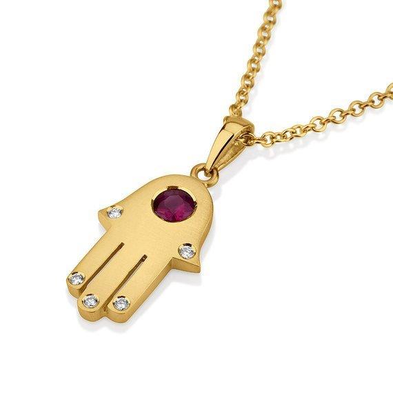18k Gold Ruby Diamond Hamsa Pendant - Yellow Gold - Baltinester Jewelry
