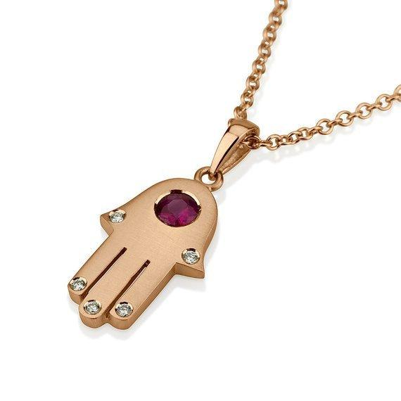 18k Gold Ruby Diamond Hamsa Pendant - Rose Gold - Baltinester Jewelry