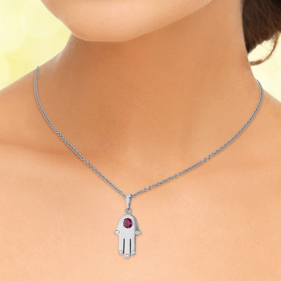 18k Gold Ruby Diamond Hamsa Pendant 5 - Baltinester Jewelry