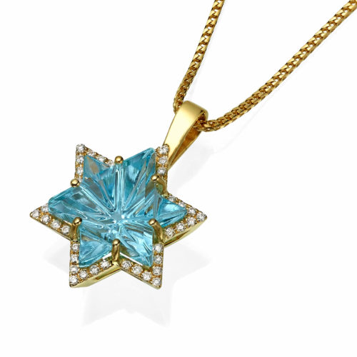 Blue Topaz Diamond Star of David 14k Gold Pendant - Baltinester Jewelry