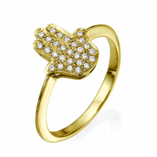 Small Hamsa Ring Diamond Studded 14k Gold - Baltinester Jewelry