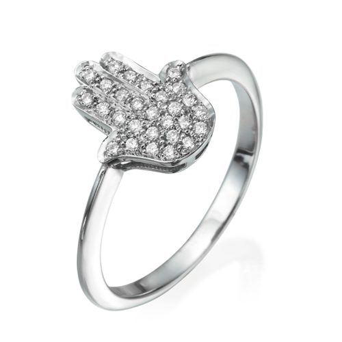 Small Hamsa Ring Diamond Studded 14k Gold 2 - Baltinester Jewelry