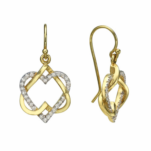 Diamond Heart Star of David Earrings - Baltinester Jewelry