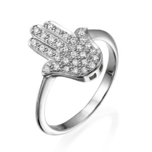 Diamond Studded Large Hamsa Ring 14k Gold 2 - Baltinester Jewelry
