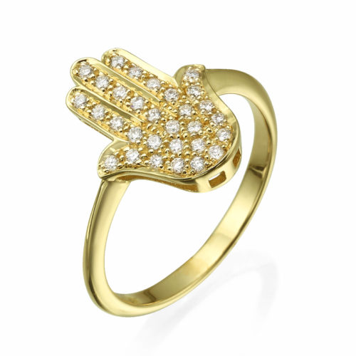 Diamond Studded Large Hamsa Ring 14k Gold - Baltinester Jewelry