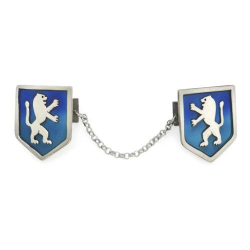 Silver Lion of Judah Blue Enamel Tallit Clips - Baltinester Jewelry
