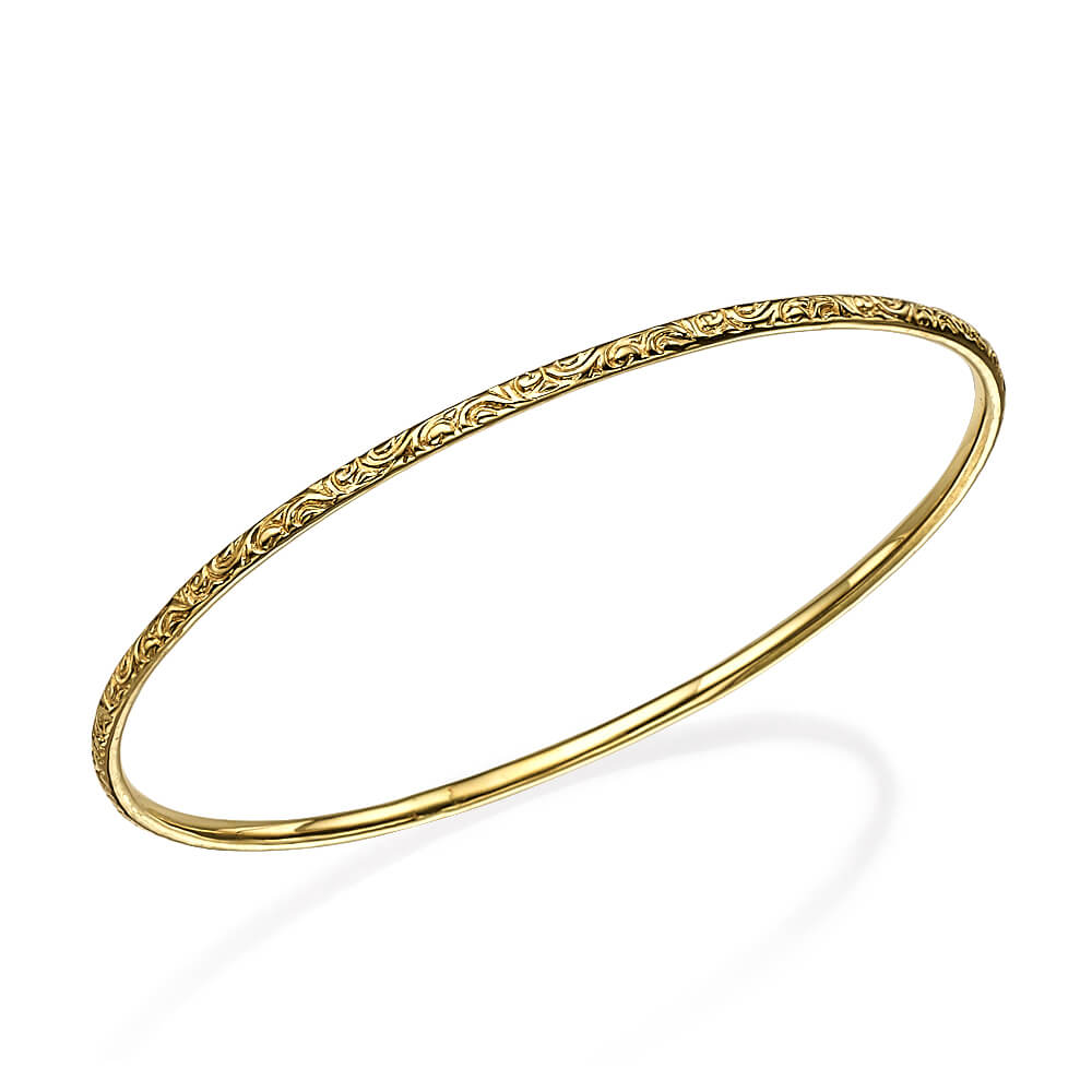 Thin Elaborate Gold Moroccan Bangle - Baltinester Jewelry