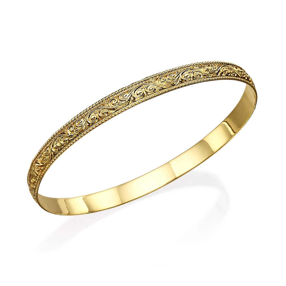 Heavy Ornate Gold Moroccan Bracelet - Baltinester Jewelry