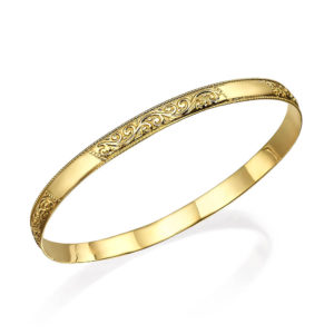 Embellished Gold Moroccan Bangle Vintage Style - Baltinester Jewelry