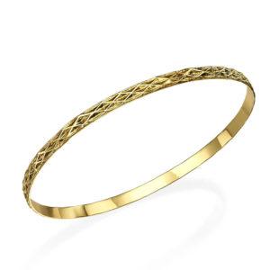 Engraved Latticework Gold Bangle Bracelet - Baltinester Jewelry