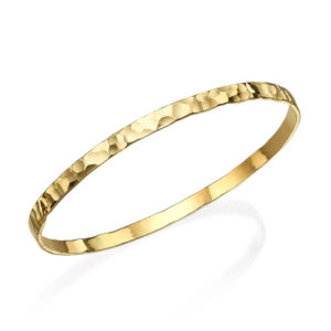 Shiny Hammered Gold Moroccan Bangle - Baltinester Jewelry