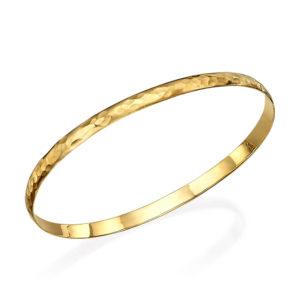 Slender Hammered 14k Gold Bangle - Baltinester Jewelry