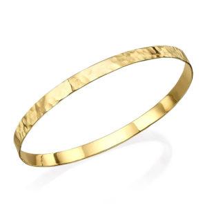 Hammered 14k Gold Flat Bangle Bracelet - Baltinester Jewelry