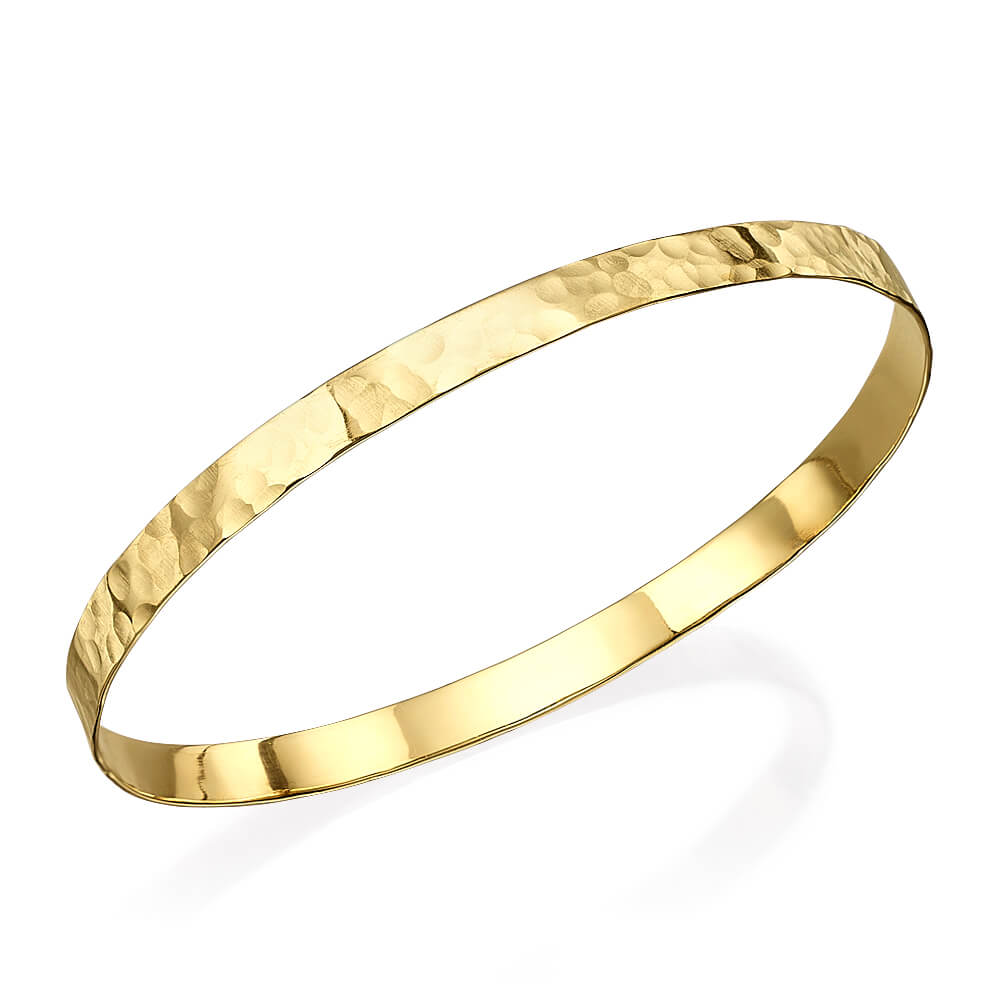 Hammered 14k Gold Flat Bangle Bracelet - Baltinester Jewelry