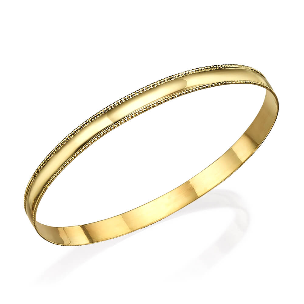 14k Gold Milgrain Bangle Bracelet - Baltinester Jewelry