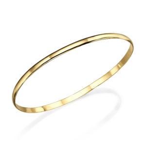 Smooth 14k Gold Moroccan Bangle Bracelet - Baltinester Jewelry