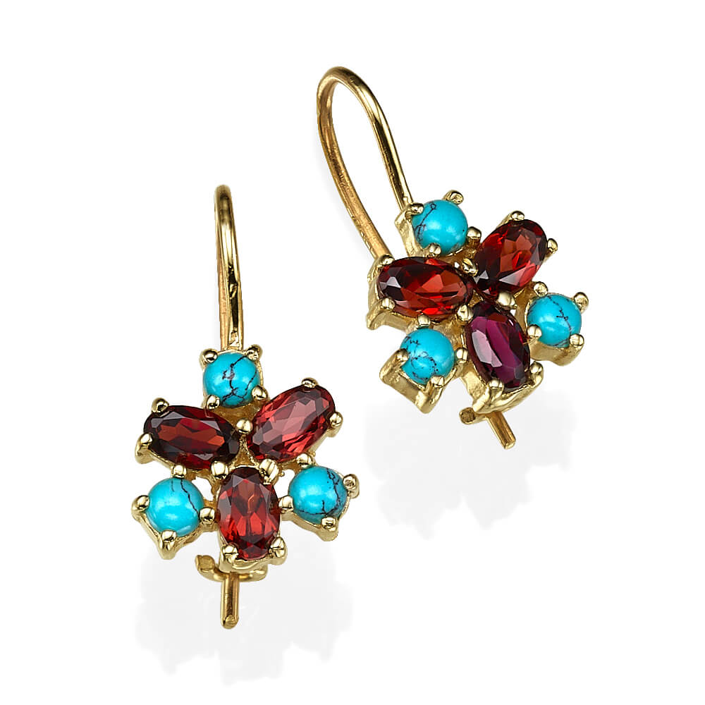 Garnet & Turquoise Flower Earrings 14k Gold - Baltinester Jewelry
