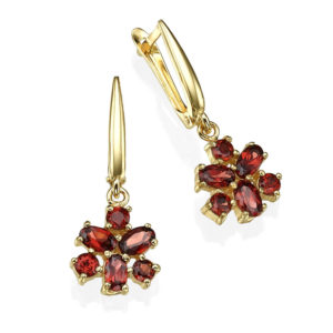 Garnet Flower Yellow Gold Drop Earrings - Baltinester Jewelry