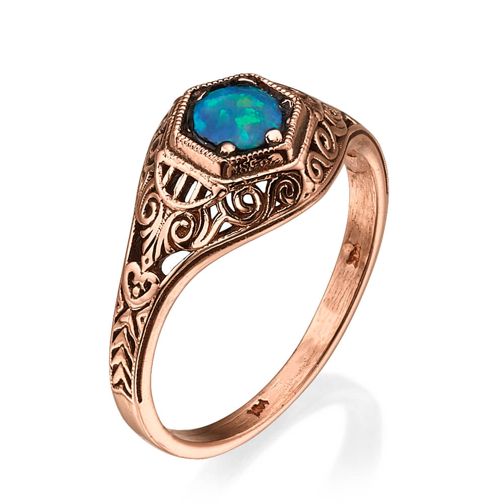 Antique Style Rose Gold Opalite Ring - Baltinester Jewelry