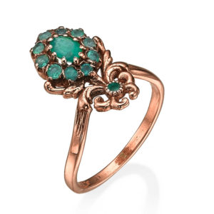 Emerald Stone Rose Gold Cocktail Ring - Baltinester Jewelry