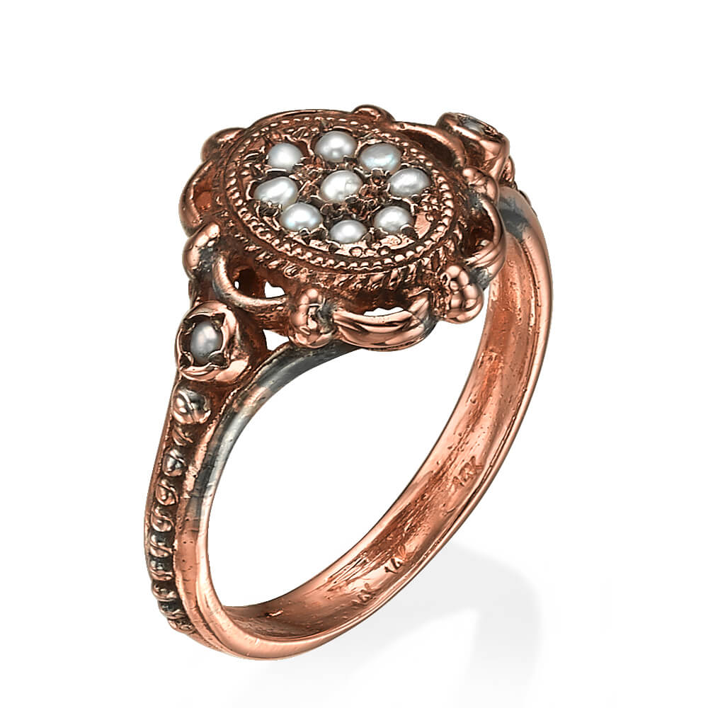 Vintage Pearl 14k Rose Gold Ring - Baltinester Jewelry