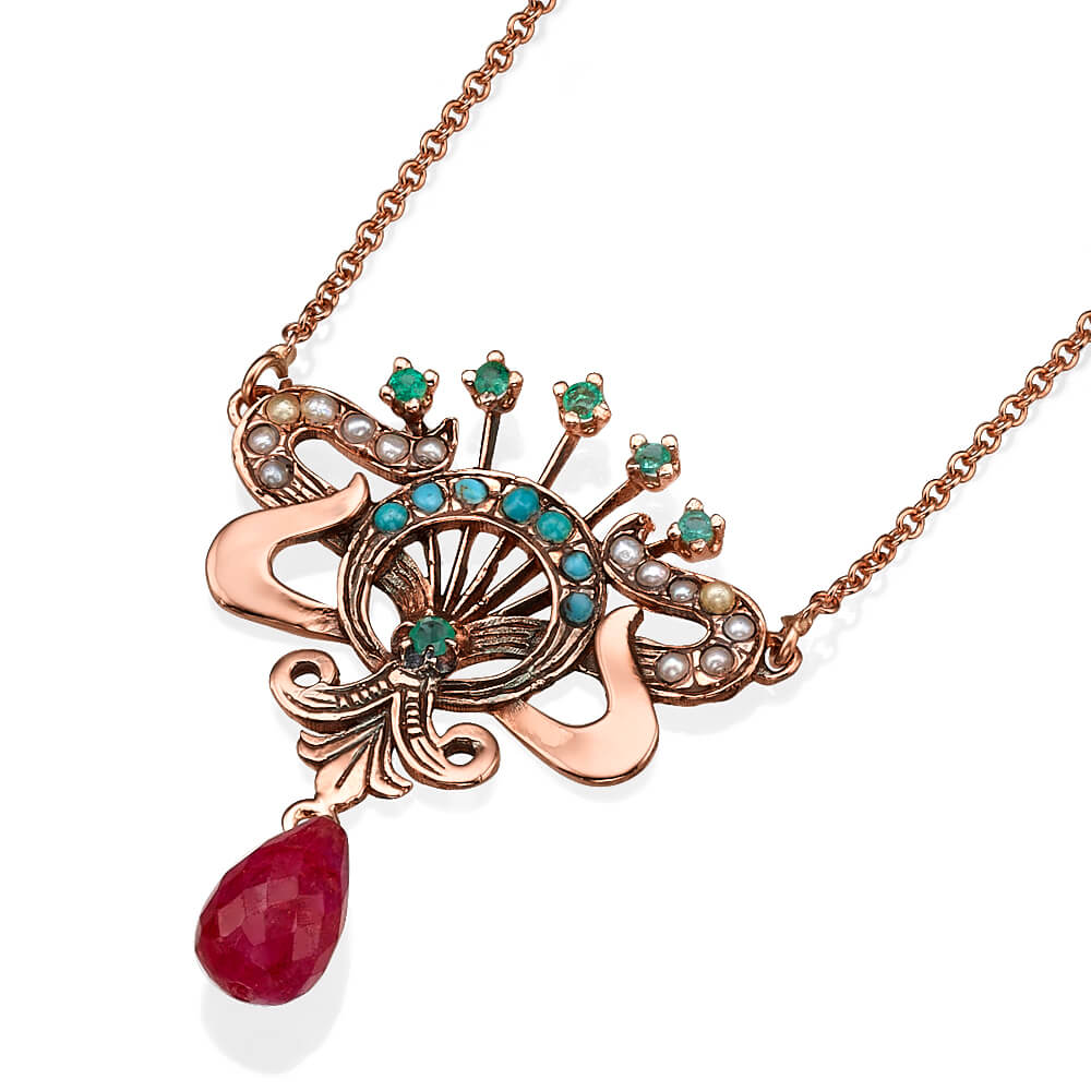 Rose Gold Ruby and Gemstone Necklace - Baltinester Jewelry