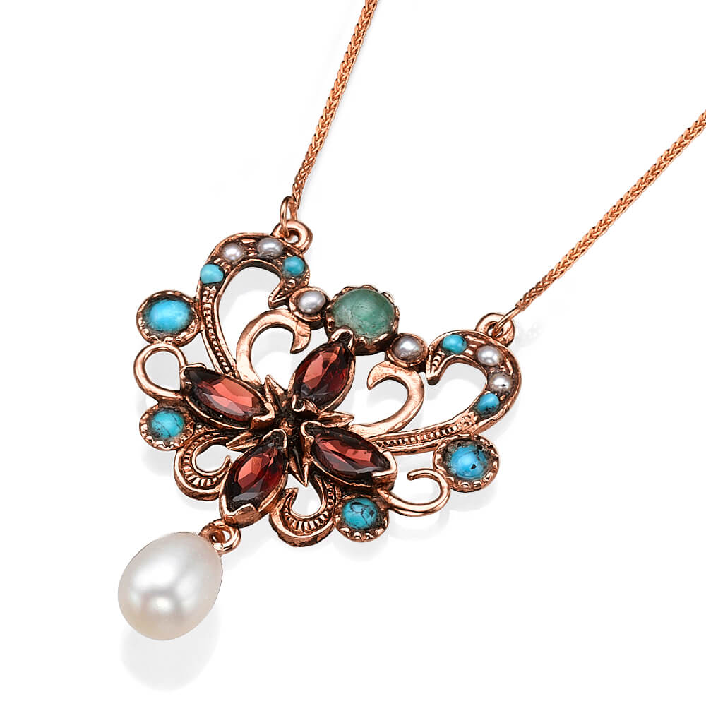 Gemstone Butterfly Rose Gold Necklace - Baltinester Jewelry