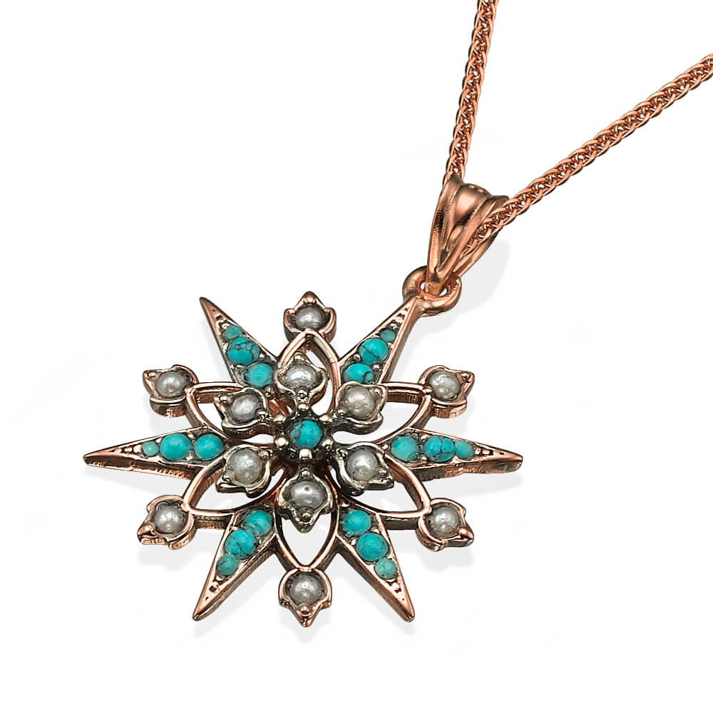 Rose Gold Turquoise and Pearl Snowflake Pendant - Baltinester Jewelry