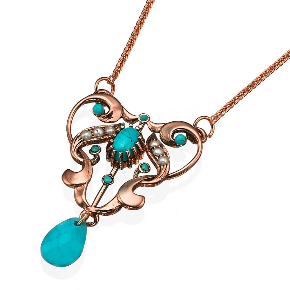 Embellished Rose Gold Necklace with Turquoise Stones - Baltinester Jewelry
