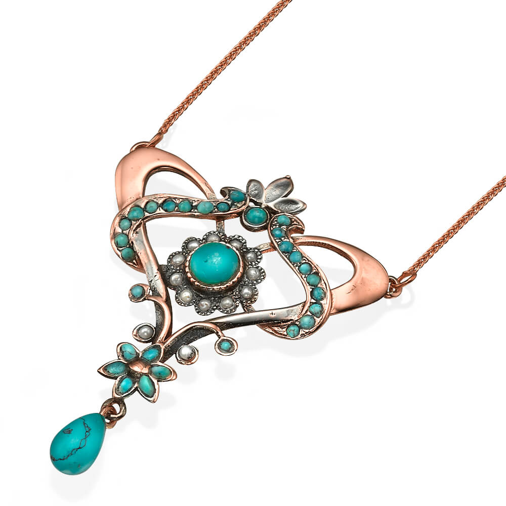 Turquoise and Pearl Rose Gold Necklace - Baltinester Jewelry