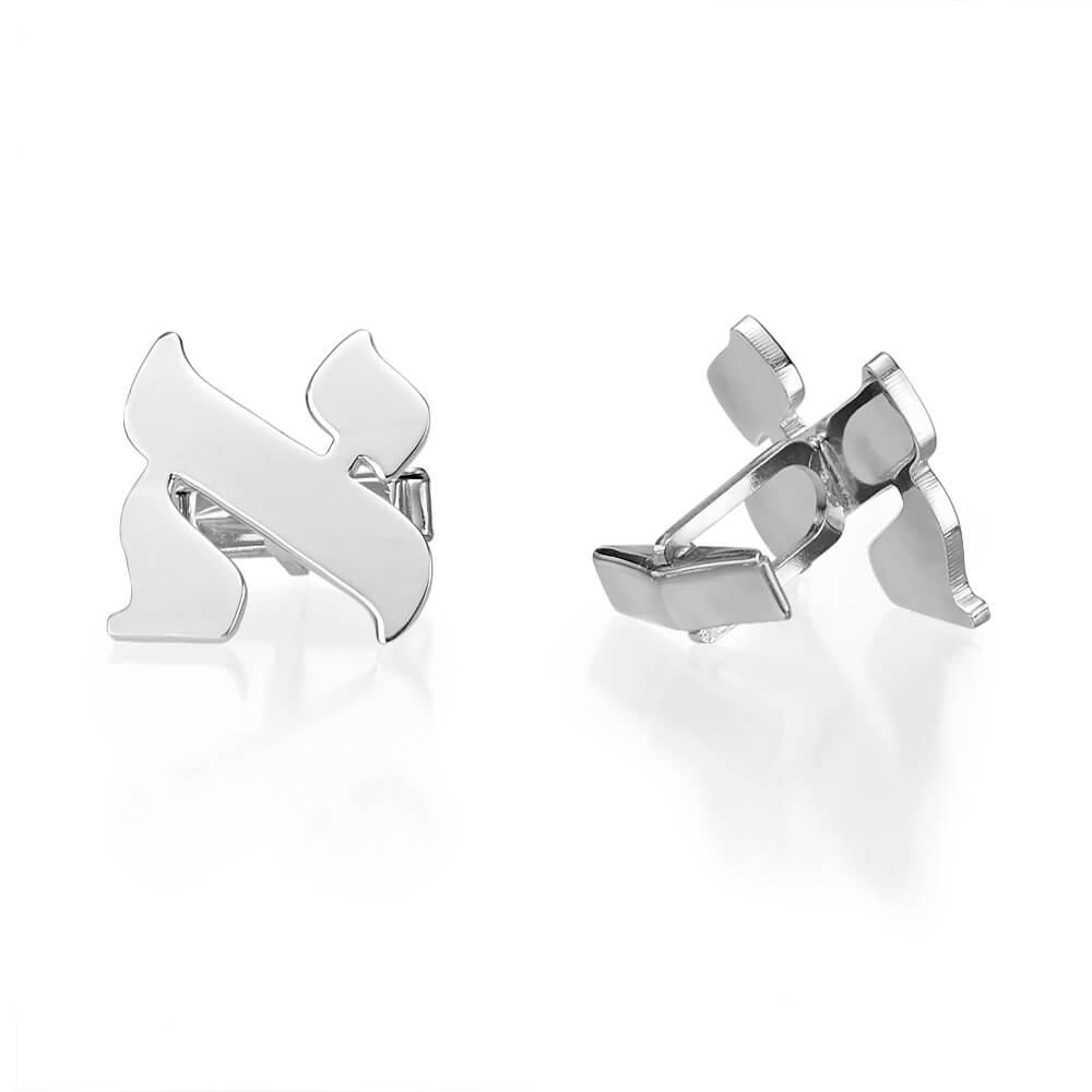 14k White Gold Hebrew Initial Cufflinks - Baltinester Jewelry